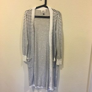 Cotton On black and white striped cardigan